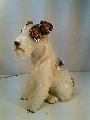 "Vtg LARGE 9"" Wire-haired Fox Jack Russell Terrier Porcelain Pottery Dog Figurine"