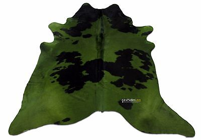 Green Cowhide Rug Size: 7.7 X 7.4 ft Green Dyed on Black Cow Hide Skin Rug i-807