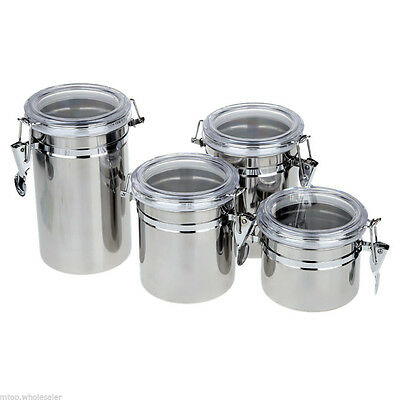 4pcs Stainless Steel Canister Spice Storage Jar Set Kitchen Cans Pots ED