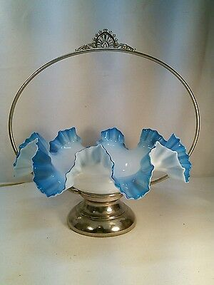 Vtg Antique Silver Bridal Basket VICTORIAN Glass Art Ruffled Edge Blue Bowl WOW
