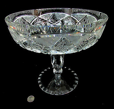 Compote Cut Crystal American Brilliant Pedestal Candy Fruit Dish Bowl Victorian