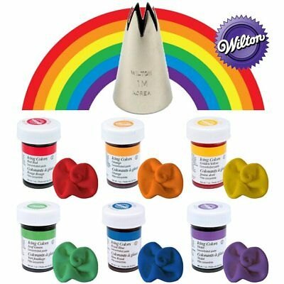 Wilton Concentrated Icing Gel Paste for Cake Decorating 6 Rainbow Color + 1M Tip