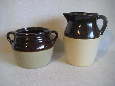 Vintage Monmouth Pottery Brown Crock or Bean Pot With Matching Pitcher Jug