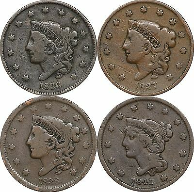 1836, 1837, 1838 & 1841 Large Cents, Lot of 4 Coins, About Fine
