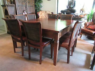 9 Piece Timber Square Dining Table Indian Setting Genuine Leather Chairs Rustic