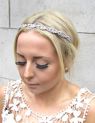 Silver Diamante Metal Feather Headpiece Bridal Wedding Rhinestone Headband 1349