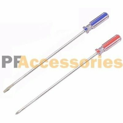 """2 Pcs 12"""" inch Extra Long Screwdriver Set - Philips #2 + 1/4"""" inch Flat Slotted"""
