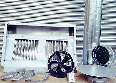 Commercial Kitchen Extractor SS Steel Canopy 4, 5 & 6ft Complete Extraction kit