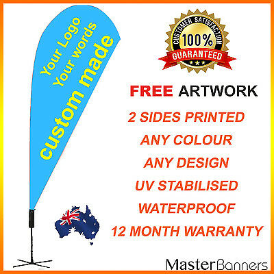 CUSTOM MADE Deluxe Personalised Double Sided Teardrop Banner Flag Business Sign