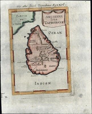Ceylon Taprobana Island India 1719 charming antique engraved map of island