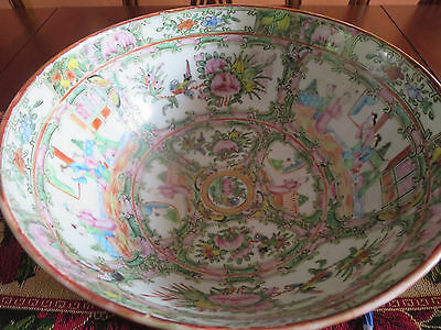 Large Chinese Antique Famille Rose Porcelain Punch Bowl 18Th C