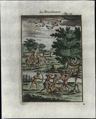 Cannibals in Brazil South America Brazilian natives 1719 incredible old print