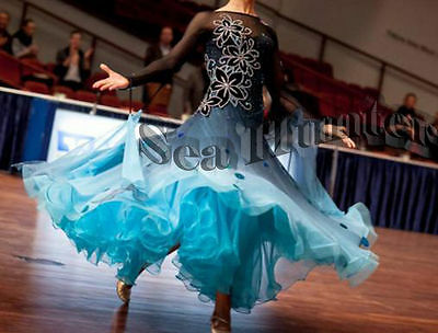 B4364 Ballroom Competition Dance Dress Moder Waltz Tango Standard Dress US 4