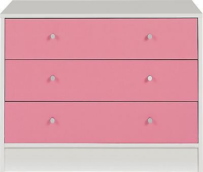 New Malibu 3 Drawer Wide Chest - Pink on White.