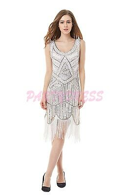 Ladies Costume Fancy Dress 1920s Flapper Gatsby Gangster 1007 White Sequin s6-14
