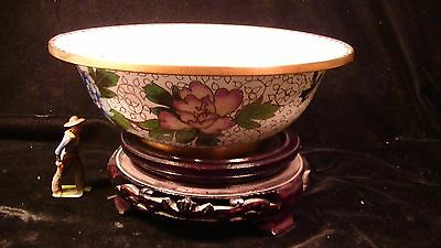 Chinese Cloisonne Bowl with Stand, Floral Pattern  lot#102