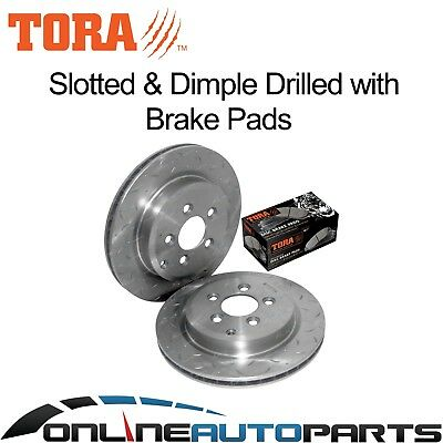 2 Rear Slotted Disc Rotor Ford Territory TX TS 04-11 RWD 4x4 plus Brake Pad Set