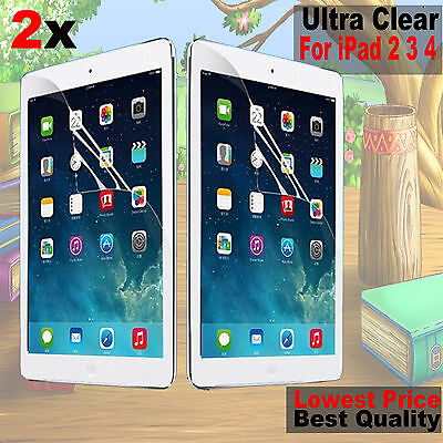 2x New HD Screen Protector Dust Proof Ultra Clear Film Guard For iPad 4 3 2