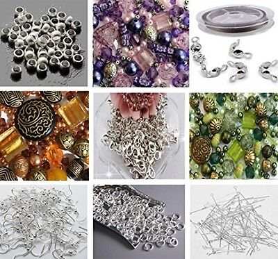 Approx X 400 Jewelry Making Beads Mix Starter Kit For Beginners In Purple Gold