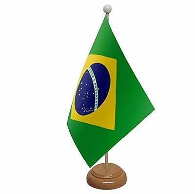 "Brazil Table Flag 9""x6"" With Wooden Base Flags"