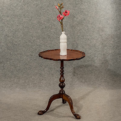 Antique Tripod Wine Side Lamp Table Edwardian Mahogany Quality Pie-Crust c1910