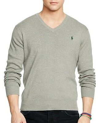 Polo Ralph Lauren Mens Gray Pima Cotton V-Neck Sweater Large