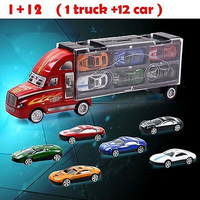 Brand New Transporter Truck Diecast Toy Car Large Storage Carry Case + 12 Cars