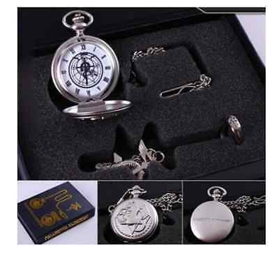 Cosplay Edward Elric Fullmetal Alchemist Anime Pocket Watch Necklace Ring Boxset