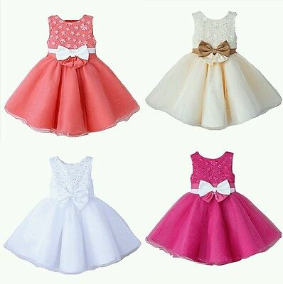 Girls Special Occassion Flower Bridesmaid Prom Sparkle  Princess Bow Dress