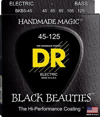DR BKB5-45 BLACK BEAUTIES COATED BASS STRINGS, MEDIUM GAUGE 5's, 45-125