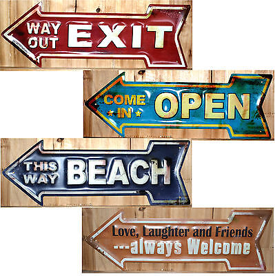 Blechschild Pfeil 3 D geprägt open Exit Beach Friends welcome Love way out NEU
