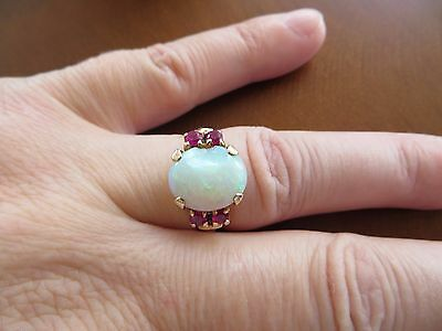 Victorian/ Art Deco 10k Rose Gold Opal Ruby ring size 5