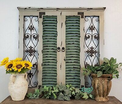 Large Distressed Vintage Shabby Window with Shutters Wood Metal Wall Panel Art