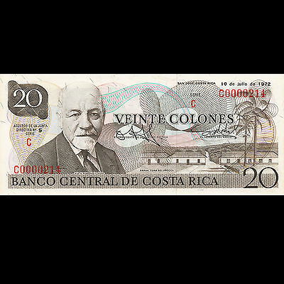 Costa Rica 20 Colones Barba ERROR Low Serial Number UNC Oscar Arias Signature