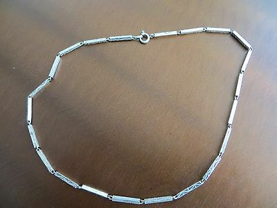 """Victorian/Art Deco STERLING  Square long Links Engraved 15 1/2"""" Choker Necklace"""