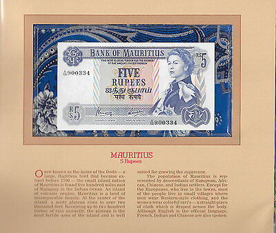 Most Treasured Banknotes Mauritius 1967 5 Rupees P 30c AUNC Prefix A/54