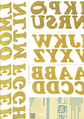Iron On Gold Glitter Letters Birch Pack of 40 Alphabet pieces fuse to T-shirt