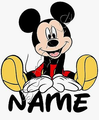 Iron on Transfer PERSONALISED WITH ANY FIRST NAME Mickey Mouse 12x15cm