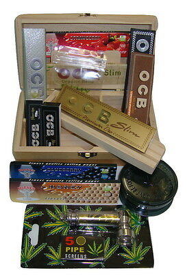 Smokers Rolling Supreme Med Gift Box Smoking Flavoured Papers Grinder OCB Pipe