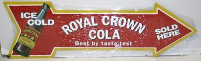 ROYAL CROWN COLA ice cold sold here arrow shape metal sign rc cola soda rc-03