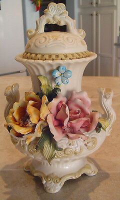 Antique Capo di Monte Covered Urn 1960's Made in Italy