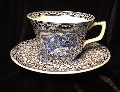 Adams Ironstone Chinese Bird Porcelain Cup & Saucer Blue & White Antique