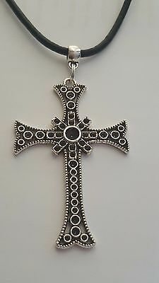Antique Tibetan Silver Cross Charm Pendant On Black Leather Choker Necklace.