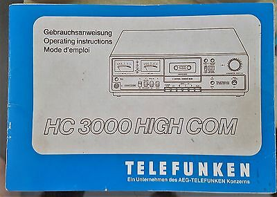 Telefunken 1970s HC 3000 High Com Cassette Player Vintage Audio Original Manual