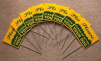 "8 PLEASE CLEAN UP AFTER YOUR DOG  6""X9"" Plastic Coroplast Signs w/ Stakes  g/y"