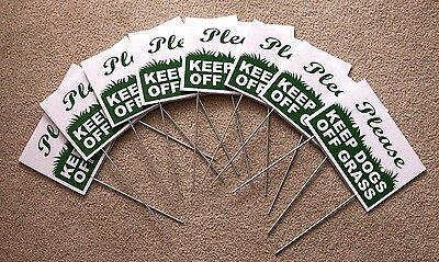 """8 PLEASE KEEP DOGS OFF GRASS  6""""X9"""" Plastic Coroplast Signs w/ Stakes  g/w"""