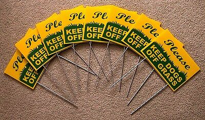 """8 PLEASE KEEP DOGS OFF GRASS  6""""X9"""" Plastic Coroplast Signs w/ Stakes  g/y"""