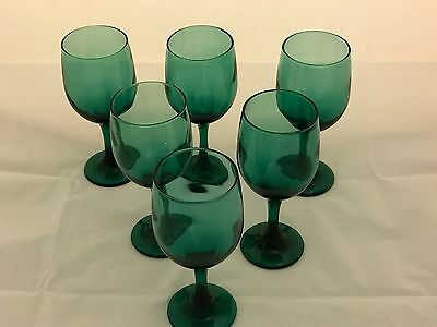 Emerald  Green Stemmed Glasses Hard to Find in this Condition
