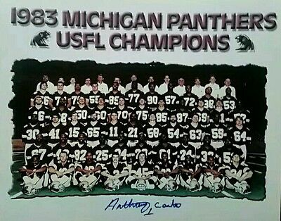 Anthony Carter Michigan Panthers  Autographed Team 8x10   w COA