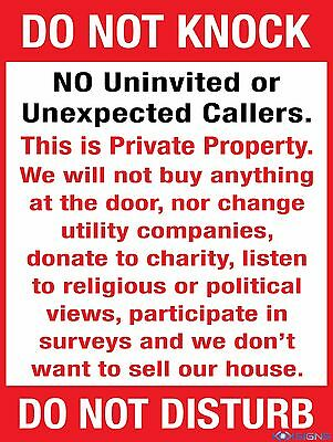 Do Not Knock No Uninvited Or Unexpected Callers -- Vinyl Sticker - Various Sizes